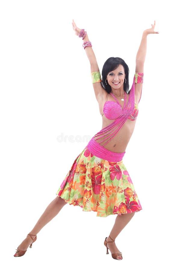 Sexy latino dansersmeisje in actie Geïsoleerd op wit royalty-vrije stock afbeelding