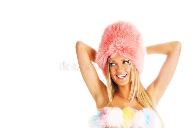 Download Laughing Girl In A Pink Fur Hat Royalty Free Stock Images - Image: 13657769