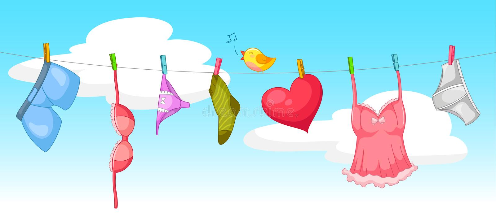 Download Laundry stock vector. Illustration of bird, happiness - 29550404