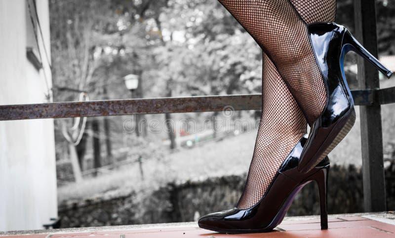 legs in fishnet stockings stock image