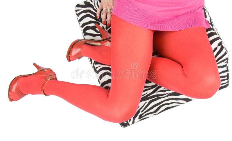 Download Legs In Pink Stockings And High Heels. Stock Image - Image: 7240507