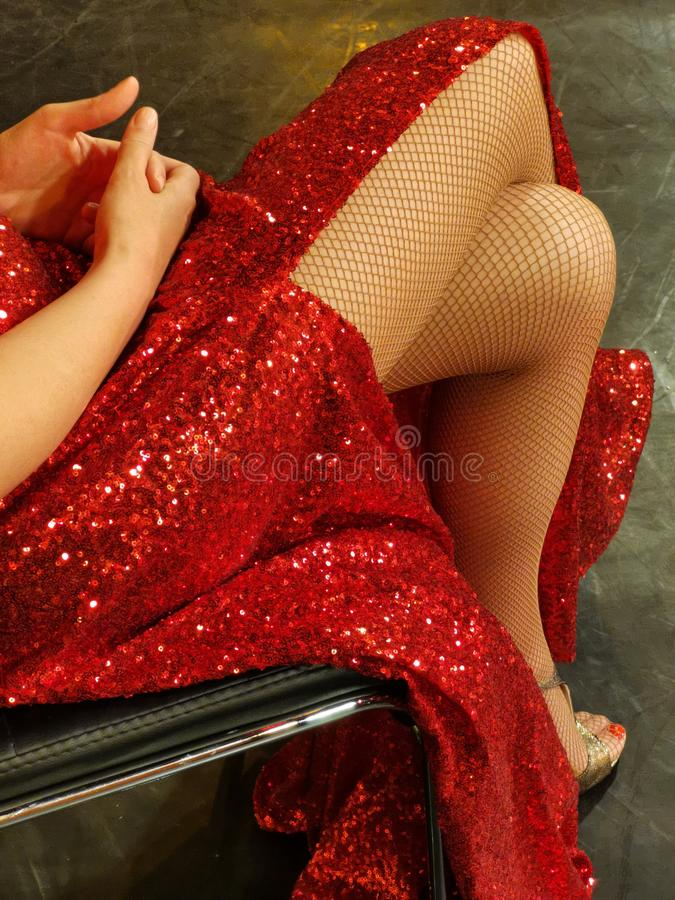 Sexy legs woman in red dress stock photos