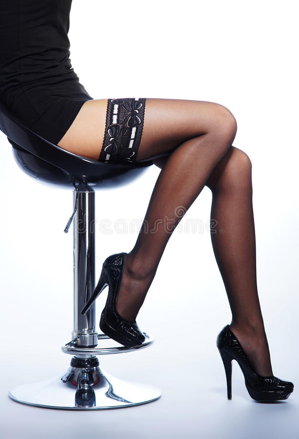Download Legs Of A Young Woman In Black Stockings Stock Photo - Image: 27914012
