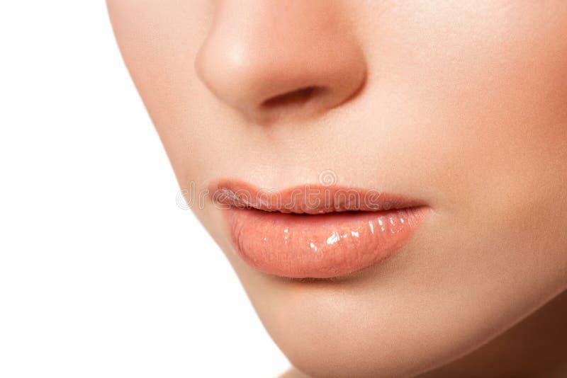 Sexy lippen De Make-updetail van schoonheidslipgloss stock foto
