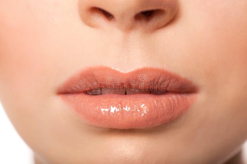 Sexy lippen De Make-updetail van schoonheidslipgloss stock afbeeldingen