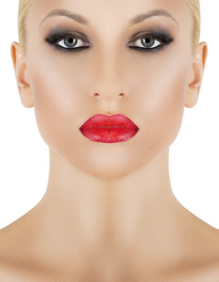 Lips. Beauty Red Lip Makeup Detail. Beautiful Make-up Closeup stock photos