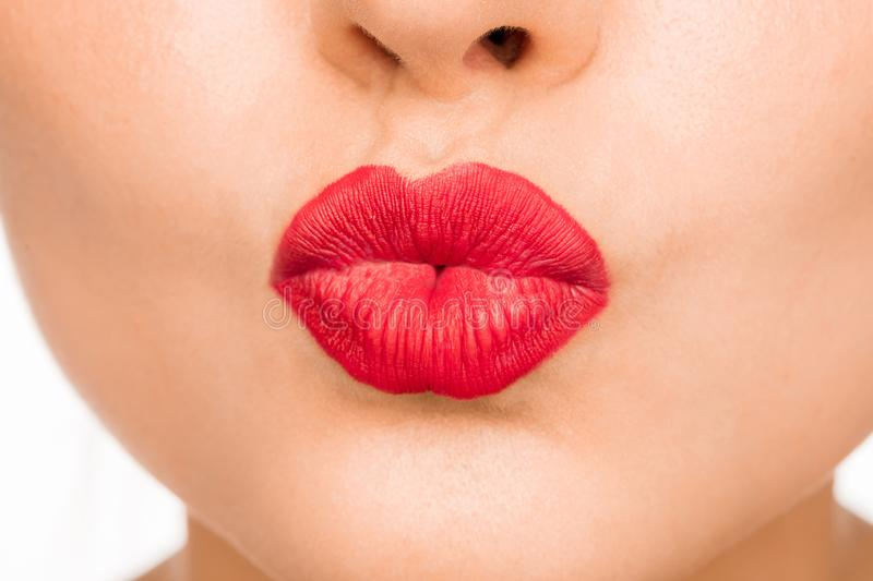 Lips. Beauty Red Lip Makeup Detail. Beautiful Make-up Closeup. Sensual Open Mouth. l. Ipstick or Lipgloss. Kiss. Beauty Model Woman`s Face close-up stock photo