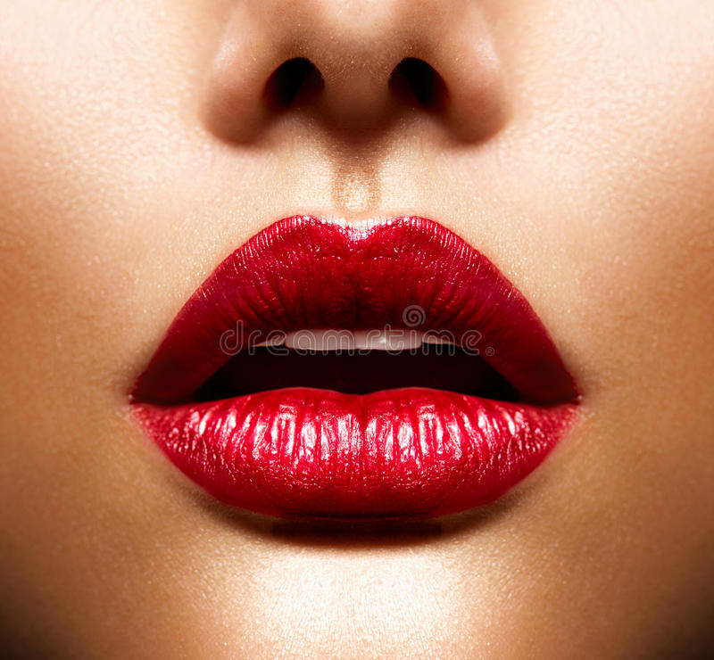 Lips. Beauty Red  Makeup