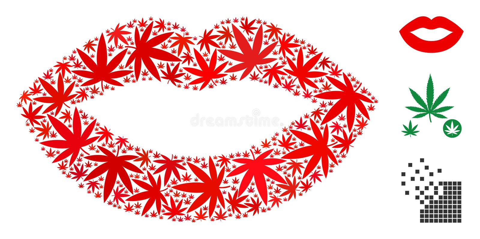Lips Composition of Cannabis. Lips mosaic of weed leaves in variable sizes and color shades. Vector flat cannabis leaves are combined into lips mosaic. Herbal stock illustration