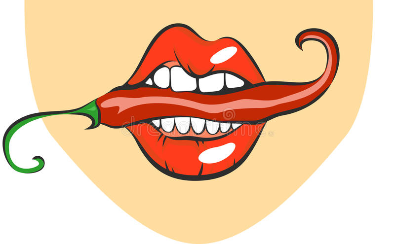lips with red hot chili pepper. Pop art mouth biting spice. Close up view of cartoon girl eating flavouring. Vector illustrat royalty free illustration