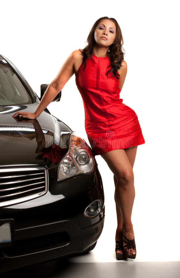 Looking Young Asian Female Standing by the Car