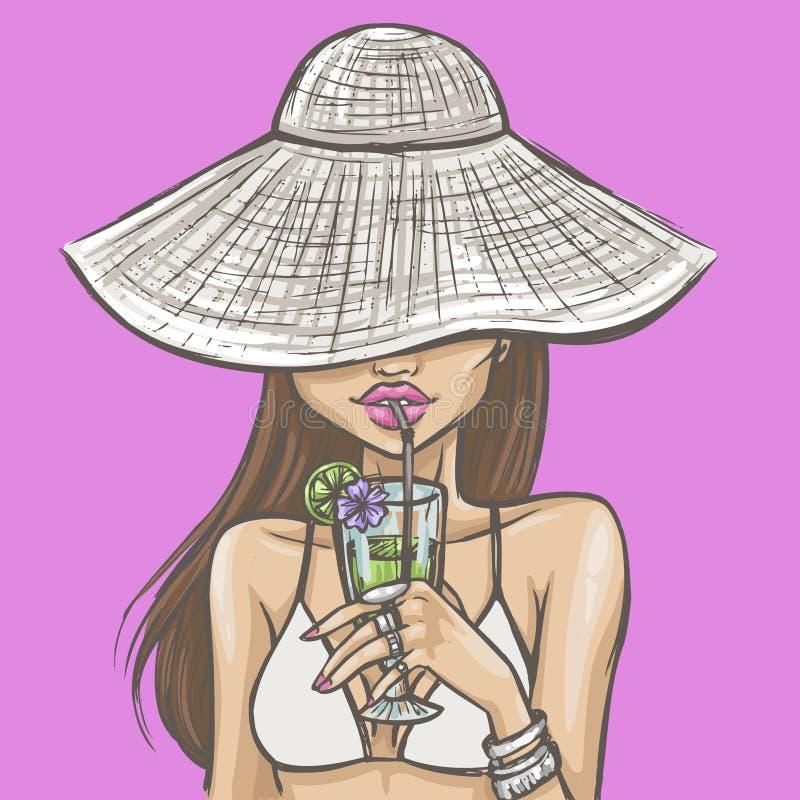 Sexy Mädchen im Hut trinkt ein Cocktail lizenzfreie abbildung