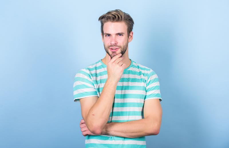 Sexy macho in casual style. thinking man in trendy shirt. Guy fashion model. male fashion and beauty. perfect look of. Muscular man. summer fashion. Unshaven stock photos
