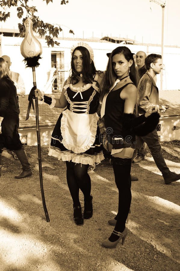 maids cosplayers at Lucca Comics and Games 2014 stock photo