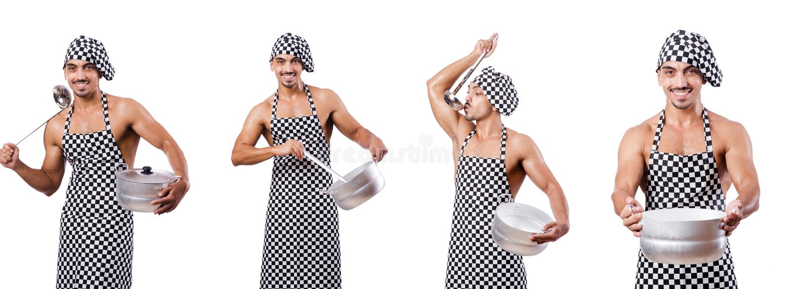 Male cook isolated on the white. The male cook isolated on the white stock photo