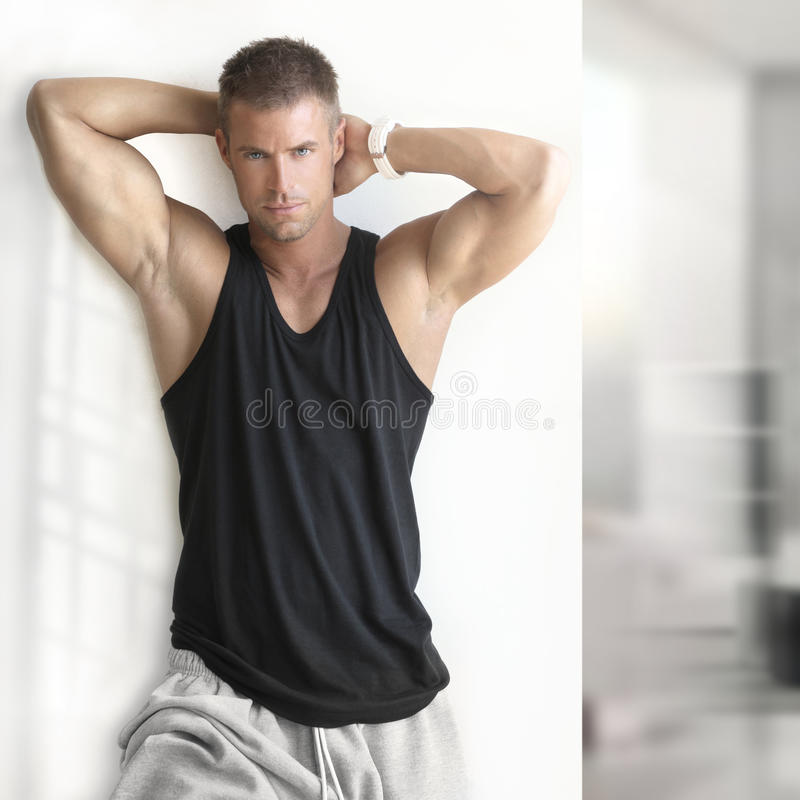male fitness model royalty free stock photos