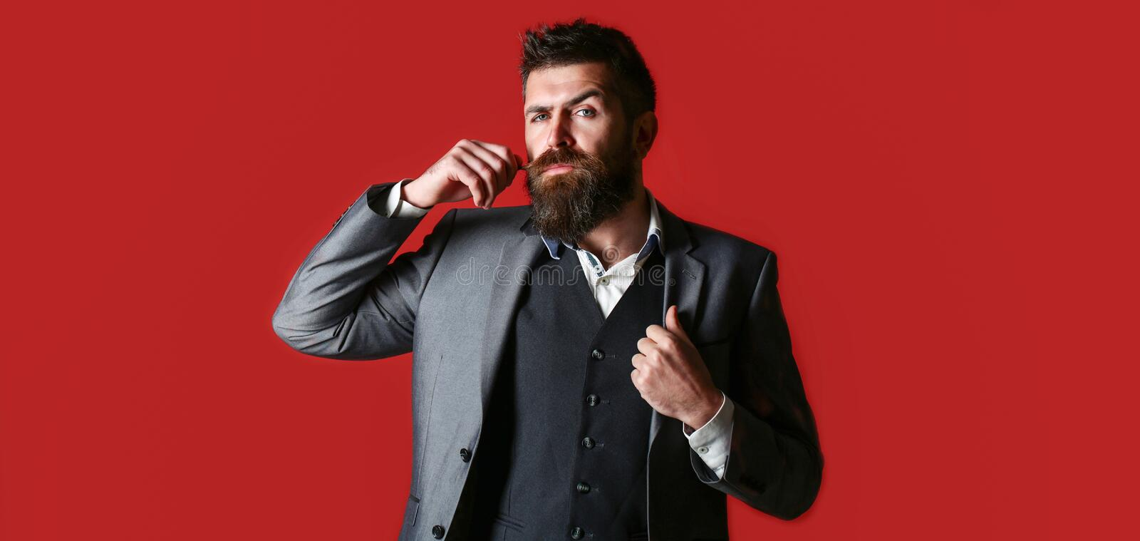 Sexy male, macho, long beard. Studio portrait of a bearded hipster man. Male beard and mustache. Handsome stylish stock photography