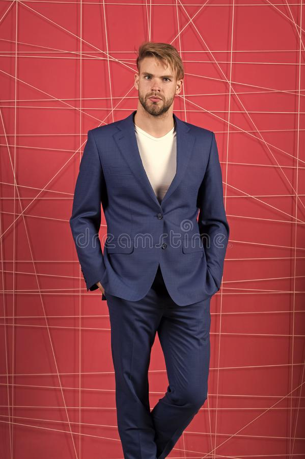 Sexy man in stylish jacket. confident businessman in suit. Businessman. serious man. Feel the success. Business fashion. And dress code. Male formal fashion royalty free stock images