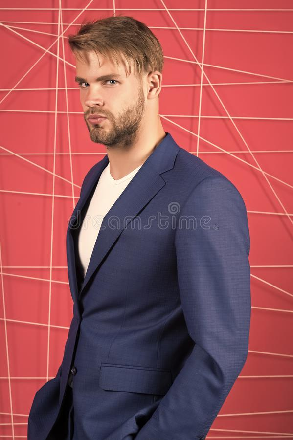 Sexy man in stylish jacket. Male formal fashion. Business fashion and dress code. confident businessman in suit. Businessman. serious man. Feel the success royalty free stock image