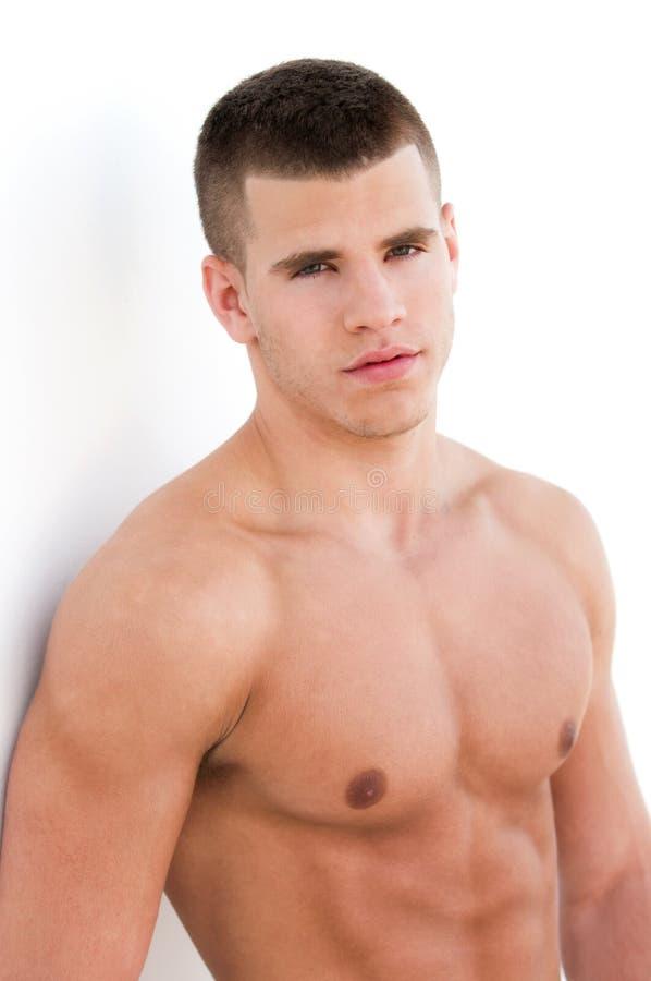 Sexy mannelijke model topless royalty-vrije stock afbeelding