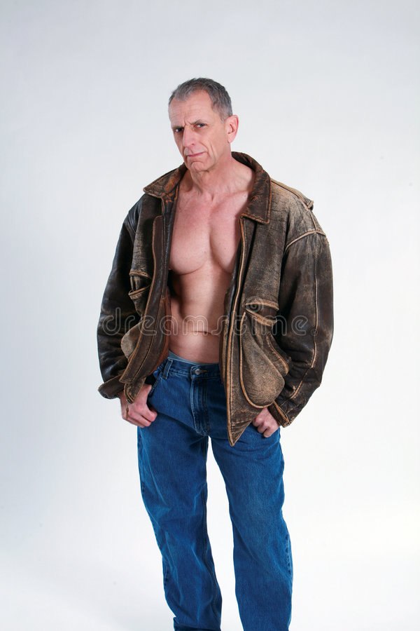 Mature Man In Leather Jacket Royalty Free Stock Images