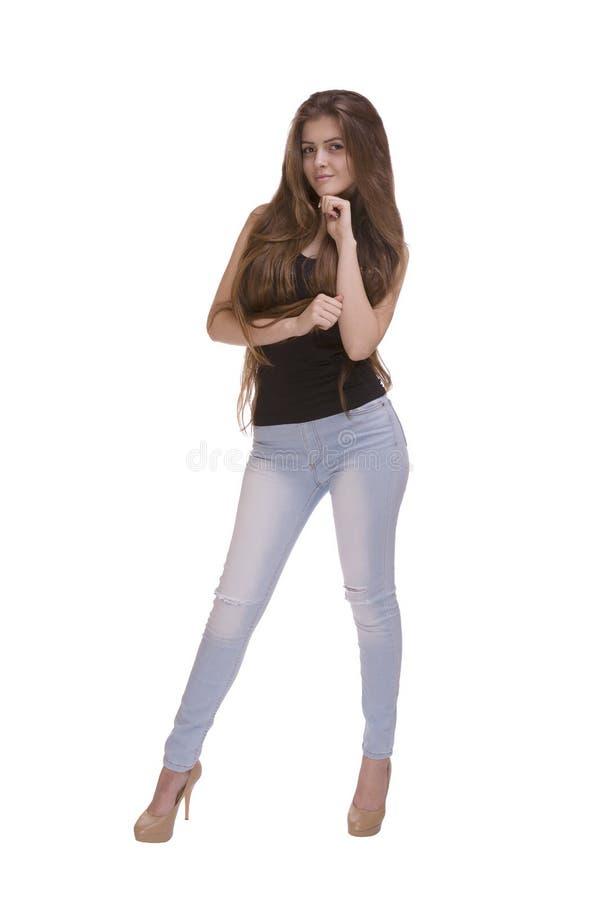Sexy meisje met mooi lang recht haar stock foto's