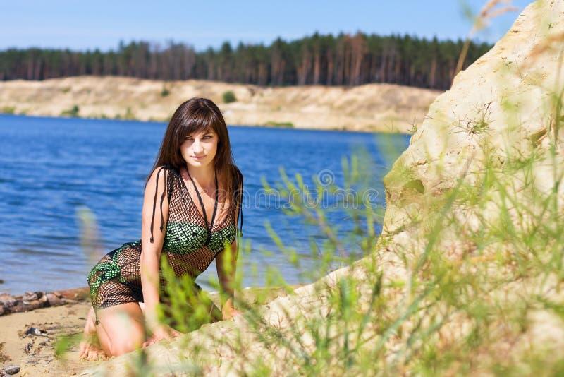 Sexy Meisje op Strand stock fotografie