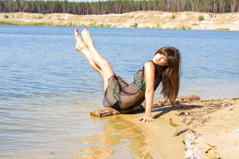 Sexy Meisje op Strand stock foto's
