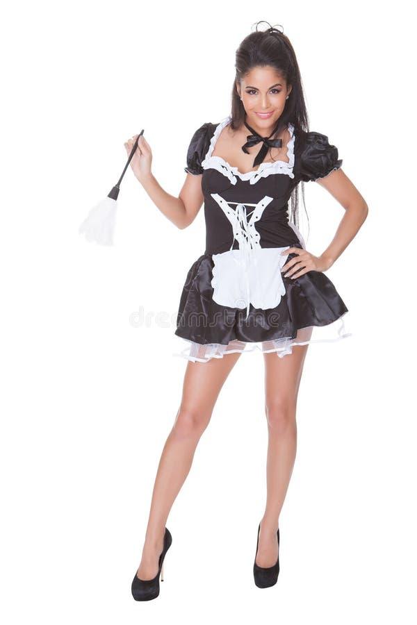 Sexy meisje in skimpy eenvormig stock fotografie