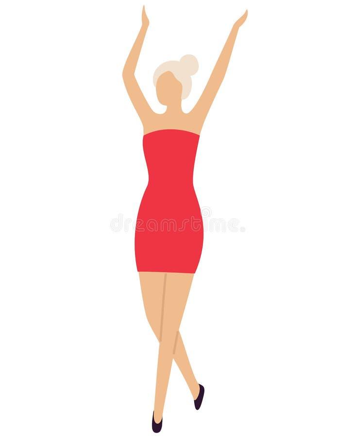 Sexy Meisjesdanser op Dance Floor in Mini Red Dress stock illustratie