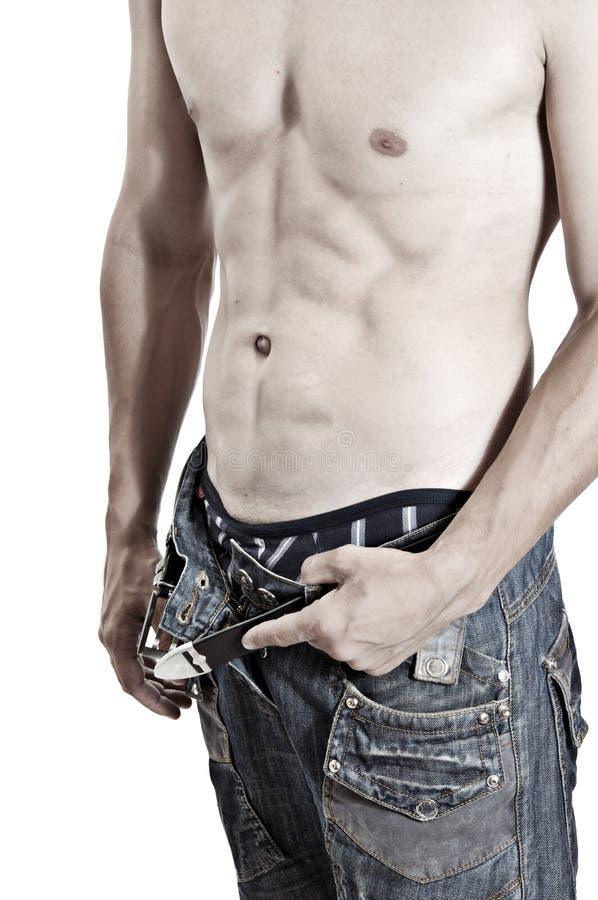 Sexy mens met naakt torso royalty-vrije stock afbeeldingen