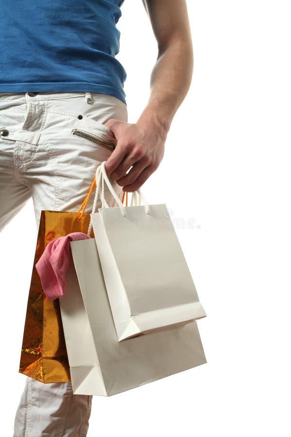 Sexy Mens met Ruimte het Winkelen van het Exemplaar Zakken royalty-vrije stock fotografie