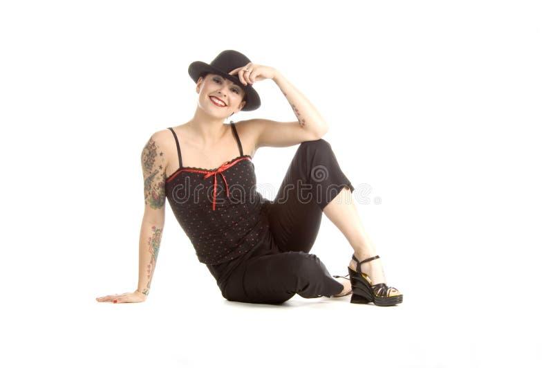 Sexy met een hoed stock foto