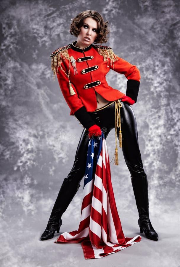 model wearing glamour uniform stock images