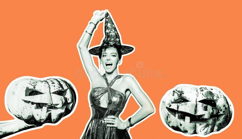 Sexy Models Posing on Halloween background. Jack-o-lanterns. Halloween background. Halloween pumpkin head jack lantern royalty free stock photos
