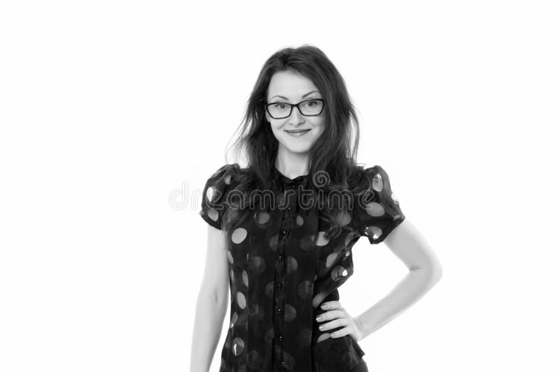 Sexy modern woman. happy sexy woman in glasses. School teacher or student. Formal fashion. successful businesswoman royalty free stock photos