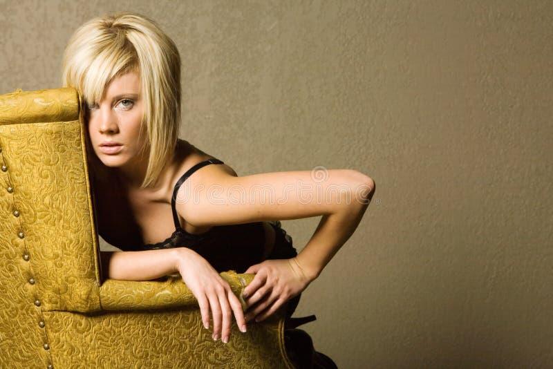 Sexy modieus blond meisje royalty-vrije stock fotografie