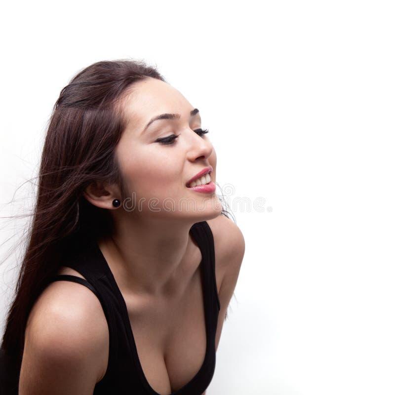 Sexy mooie vrouw die iets bekijkt royalty-vrije stock fotografie
