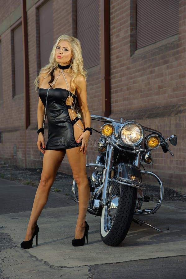 motorcycle biker girl stock photography
