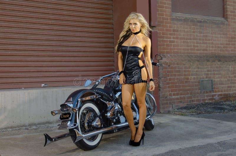 motorcycle biker girl stock photo