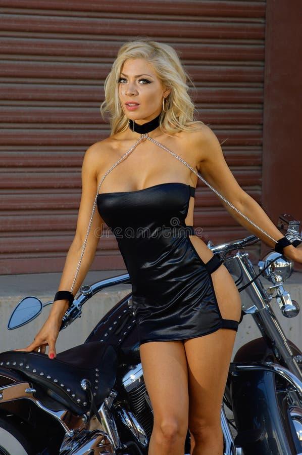motorcycle biker girl stock image