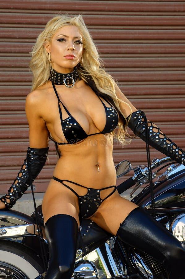motorcycle biker girl royalty free stock photography