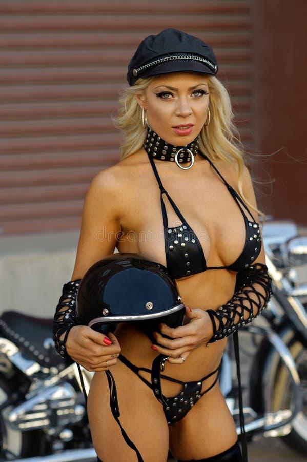 motorcycle biker girl royalty free stock photo
