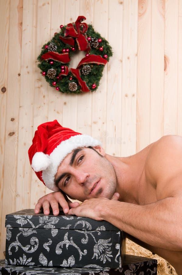 muscled santa claus stock photo