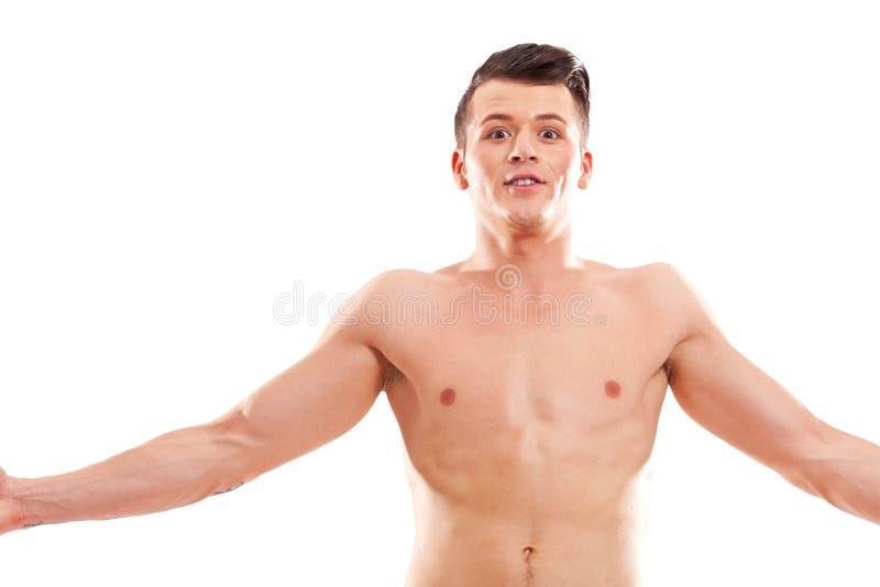 muscular macho man posing shirtless royalty free stock image