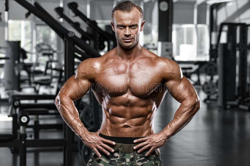 muscular man in gym, shaped abdominal. Strong male naked torso abs, working out stock photos