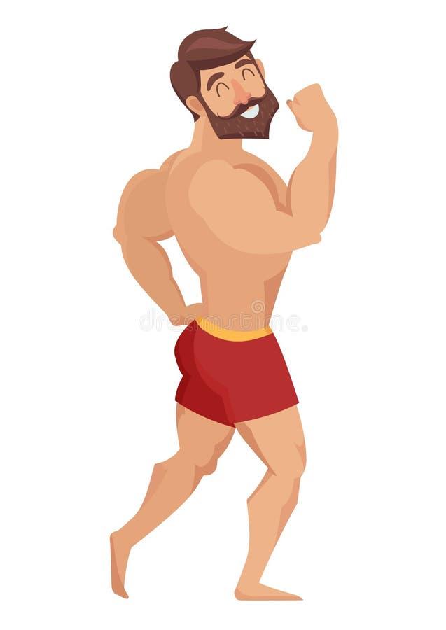 Sexy muskulöser, bärtiger Mann in den roten kurzen Hosen, Bodybuilding aufwerfend Auch im corel abgehobenen Betrag vektor abbildung