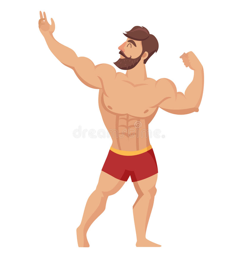 Sexy muskulöser, bärtiger Mann in den roten kurzen Hosen, Bodybuilding aufwerfend Auch im corel abgehobenen Betrag lizenzfreie abbildung