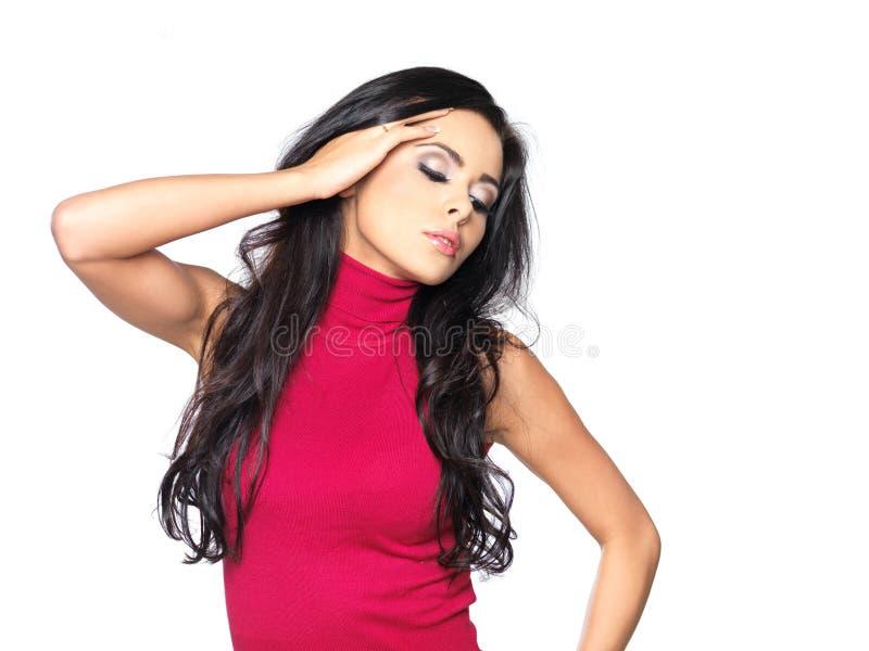 'sexy' na camisa vermelha imagens de stock royalty free