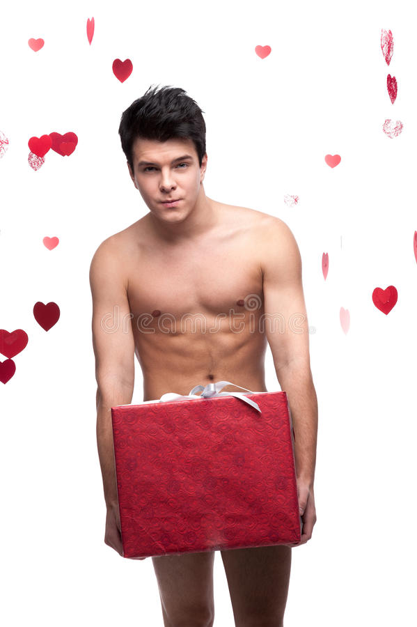 Download Naked Man Holding Christmas Gift Stock Photo - Image of looking, comic: 27665114